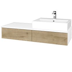 Dreja - Kúpeľňová skrinka MODULE SZZ2 120 - N01 Bílá lesk / D09 Arlington / Levé (314118)