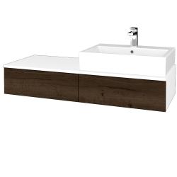 Dreja - Kúpeľňová skrinka MODULE SZZ2 120 - N01 Bílá lesk / D21 Tobacco / Pravé (314774P)
