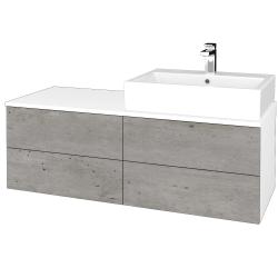 Dreja - Kúpeľňová skrinka MODULE SZZ4 120 - N01 Bílá lesk / D01 Beton / Pravé (316617P)