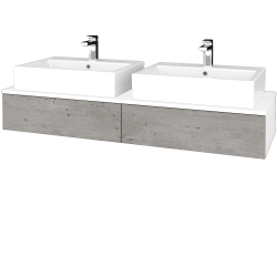 Dreja - Kúpeľňová skrinka MODULE SZZ2 140 - N01 Bílá lesk / D01 Beton (317089)