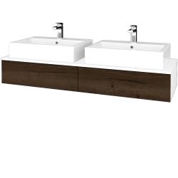 Dreja - Kúpeľňová skrinka MODULE SZZ2 140 - N01 Bílá lesk / D21 Tobacco (317126)