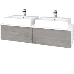 Dreja - Kúpeľňová skrinka MODULE SZZ12 140 - N01 Bílá lesk / D01 Beton (317553)