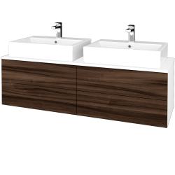 Dreja - Kúpeľňová skrinka MODULE SZZ4 140 - N01 Bílá lesk / D06 Ořech (317850)