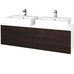Dreja - Kúpeľňová skrinka MODULE SZZ4 140 - N01 Bílá lesk / D08 Wenge (317867)