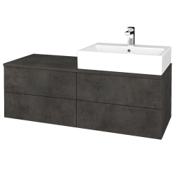 Dreja - Kúpeľňová skrinka MODULE SZZ4 120 - D16  Beton tmavý / D16 Beton tmavý / Pravé (316297P)