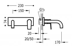 TRES - Jednopáková nástěnná baterieVčetně nerozdělitelného zabudovaného tělesa. Ramínko 170mm. (21120001OR), fotografie 2/1