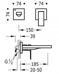 TRES - Jednopáková nástěnná baterieVčetně nerozdělitelného zabudovaného tělesa. Ramínko 185mm. (00620012OR), fotografie 2/1
