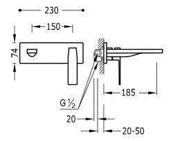 TRES - Jednopáková nástěnná baterieVčetně nerozdělitelného zabudovaného tělesa. Ramínko 185mm. (20220003OM), fotografie 2/1