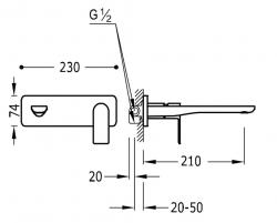 TRES - Jednopáková nástěnná baterieVčetně nerozdělitelného zabudovaného tělesa. Ramínko 210mm. (20020003AC), fotografie 2/1