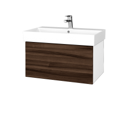 Dreja - Kúpeľňová skriňa VARIANTE SZZ 70 - N01 Bílá lesk / D06 Ořech (260774)