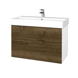 Dreja - Kúpeľňová skriňa VARIANTE SZZ2 85 - N01 Bílá lesk / D21 Tobacco (262396)