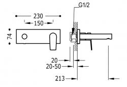TRES - Jednopáková nástěnná baterieVčetně nerozdělitelného zabudovaného tělesa. Ramínko 213mm. (21120202OR), fotografie 2/1