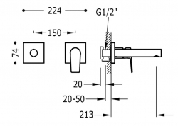 TRES - Jednopáková nástěnná baterieVčetně nerozdělitelného zabudovaného tělesa. Ramínko 213mm. (21120282KM), fotografie 2/1