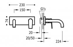 TRES - Jednopáková nástěnná baterieVčetně nerozdělitelného zabudovaného tělesa. Ramínko 224mm. (21120002KM), fotografie 2/1