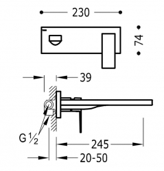 TRES - Jednopáková nástěnná baterieVčetně nerozdělitelného zabudovaného tělesa. Ramínko 245mm. (00620004OM), fotografie 2/1