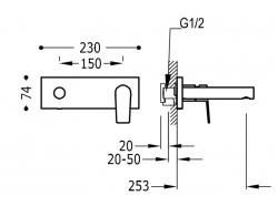 TRES - Jednopáková nástěnná baterieVčetně nerozdělitelného zabudovaného tělesa. Ramínko 253mm. (21120203KM), fotografie 2/1