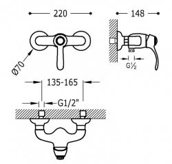 TRES - Jednopáková sprchová baterieRuční sprcha snastavitelným držákem, proti usaz. vod. kamene. Flexi hadice sdvojitým ople (24216701LM), fotografie 2/1