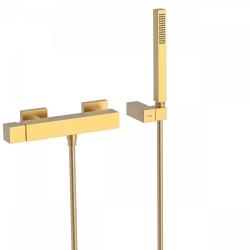 TRES - Jednopáková sprchová baterieRuční sprcha snastavitelným držákem, proti usaz. vod. kamene. Flexi hadice SATIN. (00716703OM)