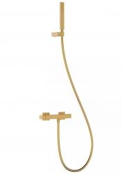 TRES - Jednopáková sprchová baterieRuční sprcha snastavitelným držákem, proti usaz. vod. kamene. Flexi hadice SATIN. (20216701OM)