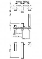 TRES - Jednopáková stojánková baterieSprcha, proti usaz. vod. Kamene.  Průtok: 3bar – 13l/m Kompatibilní se sadou nádrže (20216101OM), fotografie 2/1