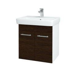 Dreja - Kúpeľňová skriňa Q DVEROVÉ SZD2 60 - N01 Bílá lesk / Úchytka T02 / D08 Wenge (20470B)