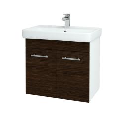 Dreja - Kúpeľňová skriňa Q DVEROVÉ SZD2 70 - N01 Bílá lesk / Úchytka T02 / D08 Wenge (20487B)