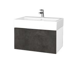Dreja - Kúpeľňová skriňa VARIANTE SZZ 70 - N01 Bílá lesk / D16 Beton tmavý (264116)