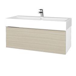 Dreja - Kúpeľňová skrinka VARIANTE SZZ 100 - N01 Bílá lesk / D04 Dub (264987U)
