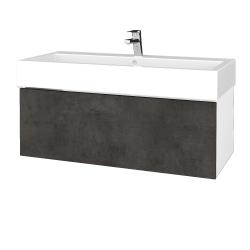 Dreja - Kúpeľňová skriňa VARIANTE SZZ 100 - N01 Bílá lesk / D16 Beton tmavý (265052)
