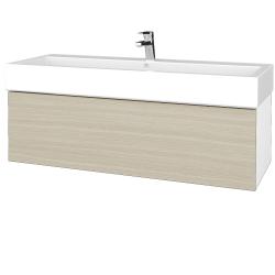 Dreja - Kúpeľňová skrinka VARIANTE SZZ 120 - N01 Bílá lesk / D04 Dub (265458U)
