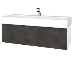 Dreja - Kúpeľňová skrinka VARIANTE SZZ 120 - N01 Bílá lesk / D16 Beton tmavý (265526U)