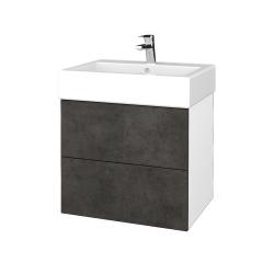 Dreja - Kúpeľňová skriňa VARIANTE SZZ2 60 - N01 Bílá lesk / D16 Beton tmavý (265991)