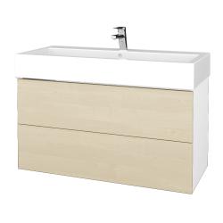 Dreja - Kúpeľňová skriňa VARIANTE SZZ2 100 - N01 Bílá lesk / D02 Bříza (267315)