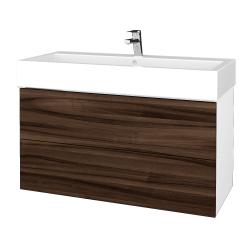 Dreja - Kúpeľňová skriňa VARIANTE SZZ2 100 - N01 Bílá lesk / D06 Ořech (267353)