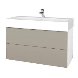 Dreja - Kúpeľňová skriňa VARIANTE SZZ2 100 - N01 Bílá lesk / M05 Béžová mat (267438)