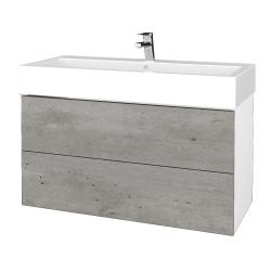 Dreja - Kúpeľňová skriňa VARIANTE SZZ2 100 - N01 Bílá lesk / D01 Beton (267520)