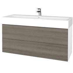 Dreja - Kúpeľňová skriňa VARIANTE SZZ2 120 - N01 Bílá lesk / D03 Cafe (267797)
