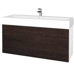 Dreja - Kúpeľňová skriňa VARIANTE SZZ2 120 - N01 Bílá lesk / D08 Wenge (267834U)