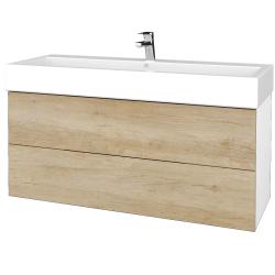 Dreja - Kúpeľňová skriňa VARIANTE SZZ2 120 - N01 Bílá lesk / D15 Nebraska (267865U)