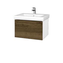 Dreja - Kúpeľňová skriňa VARIANTE SZZ 60 - N01 Bílá lesk / D21 Tobacco (271312)