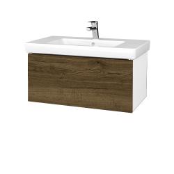 Dreja - Kúpeľňová skriňa VARIANTE SZZ 80 - N01 Bílá lesk / D21 Tobacco (272258)