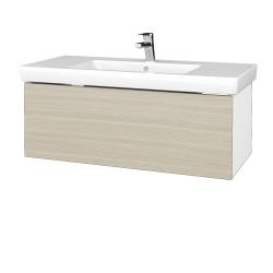 Dreja - Kúpeľňová skrinka VARIANTE SZZ 100 - N01 Bílá lesk / D04 Dub (272494)