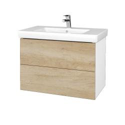 Dreja - Kúpeľňová skriňa VARIANTE SZZ2 80 - N01 Bílá lesk / D15 Nebraska (273965)