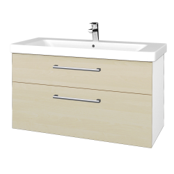 Dreja - Kúpeľňová skrinka Q MAX SZZ2 105 - N01 Bílá lesk / Úchytka T03 / D02 Bříza (331856C)