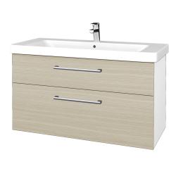 Dreja - Kúpeľňová skrinka Q MAX SZZ2 105 - N01 Bílá lesk / Úchytka T03 / D04 Dub (331870C)