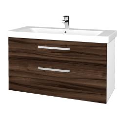 Dreja - Kúpeľňová skrinka Q MAX SZZ2 105 - N01 Bílá lesk / Úchytka T01 / D06 Ořech (331894A)