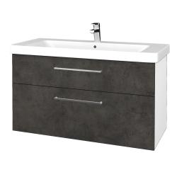 Dreja - Kúpeľňová skrinka Q MAX SZZ2 105 - N01 Bílá lesk / Úchytka T04 / D16 Beton tmavý (331948E)