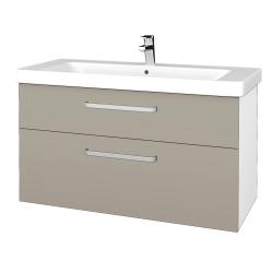 Dreja - Kúpeľňová skrinka Q MAX SZZ2 105 - N01 Bílá lesk / Úchytka T01 / L04 Béžová vysoký lesk (332006A)