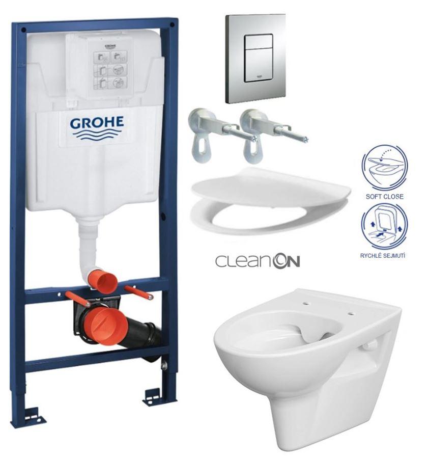 Rapid SL pre závesné WC 38528SET s chrómovou doskou + WC CERSANIT CLEANON PARVA + SEDADLO 38772001 PA2