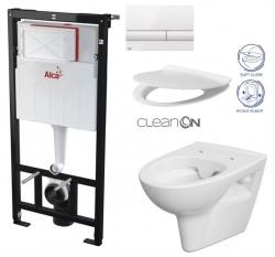 ALCAPLAST  Sádromodul - predstenový inštalačný systém s bielym tlačidlom M1710 + WC CERSANIT CLEANON PARVA + SEDADLO (AM101/1120 M1710 PA2)